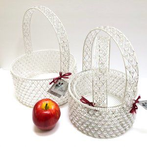 Nw Set 3 Nesting Beaded Basket with Handle Wedding